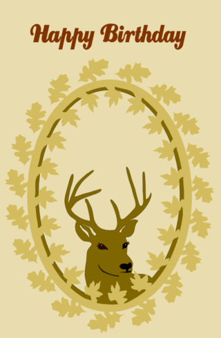 Deer and leaf wreath
