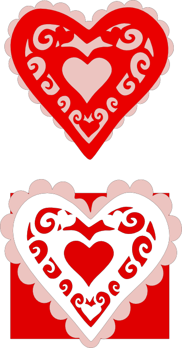 Scalloped heart card embellishments